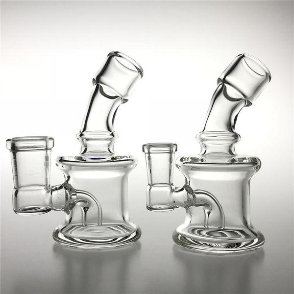 New 3.5 Inch Mini Glass Water Bongs with 10mm 14mm Female Clear Beaker Recycler Bong Cool Bongs Mini Hand Smoking Bongs