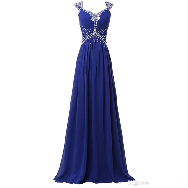 Capped Chiffon A Line Evening Dresses Royal Blue 2019 Beaded Long Prom Gowns Sexy Formal Dress