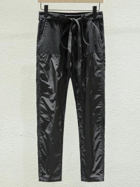 19SS мода Уличная одежда в стиле хип-хоп FEAR OF GOD Черные мужские брюки Повседневные брюки ТУМАННЫЕ СУЩЕСТВА Джинсовые комбинезоны сшитые прямые брюки