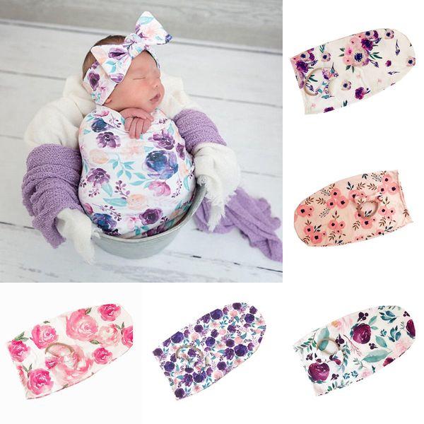 top popular Newborn Infant Baby Swaddle Sleeping Bags Baby Muslin Blanket + Headband Baby Soft Cocoon Sleep Sack with Headband 2pcs Set A253 2021