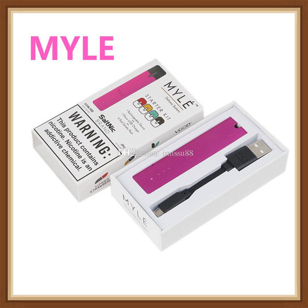 Myle Vape Device 240mAh Rechargeable Battery Nic Delivery ND System Basic Vaping Kit 240 Puffs 7 Colors 100% Authentic free dhl