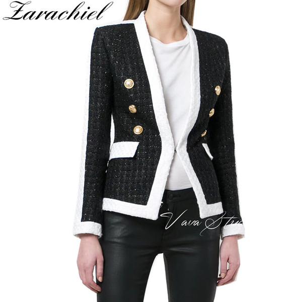 runway designer black and white patchwork tweed jacket coat women gold lions double breasted v neck woolen outwear casaco femme