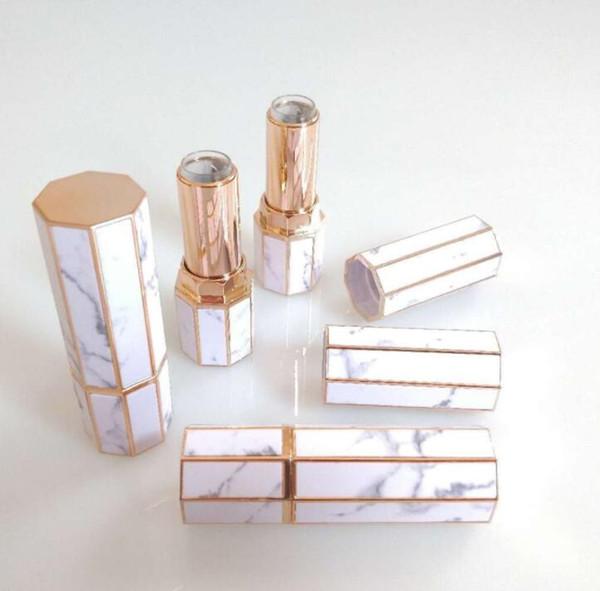 Tubos de barra de labios de mármol Octangle Tubo de brillo de labios vacío Barra de labios Labios de plástico Botellas de cosméticos de viaje Envases de botellas