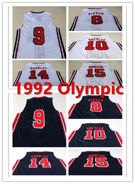 1992 олимпийская игра американская команда мечта один 9 Майкл баскетбол трикотажные изделия 10 Дрекслер 14 Баркли 15 Джонсон 8 Пиппен рубашка полный сшитые S-2XL