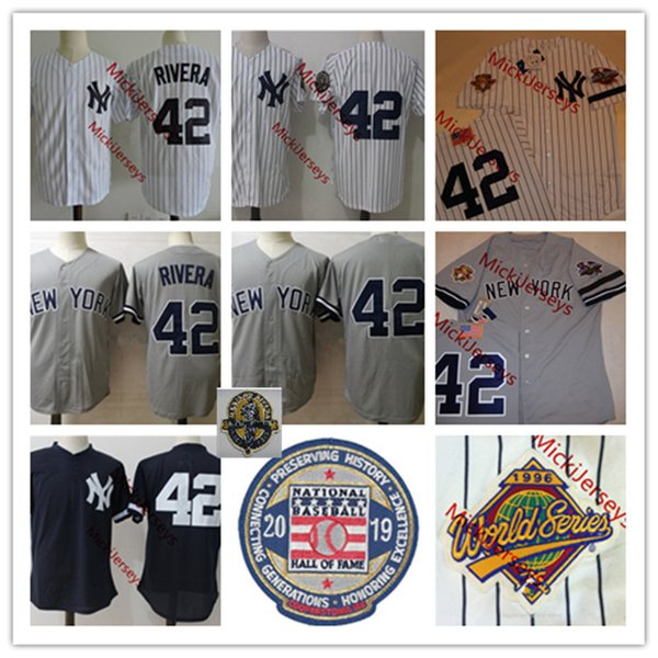 Jersey NCAA para hombre Mariano Rivera remiendo Jersey cosido NY # 42 Mariano Rivera 2019 HOF Jerseys blanco gris marino S-3XL