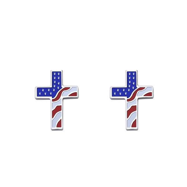 Bandera de EE. UU. Cruzada pendientes de oreja para mujer Aretes de estrellas y rayas estilo nacional Acero inoxidable joyería de moda colorida