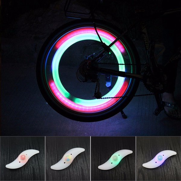 4 Color Cycling Wheel Spoke Wire Tyre Bright LED Flash Light Lamp Waterproof safety warning light with opp bag package LJJZ51