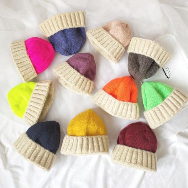 Çocuk örme yün şapka sıcak ins 2-8 yıl çocuklar Şapka Kız Erkek Tığ Çocuklar Örme Kap kış Şapka LJJK1774