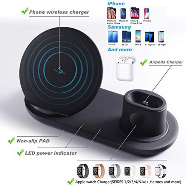 Supporto caricabatterie wireless 3 in 1 per Apple Watch e Airpods Stazione di ricarica wireless Qi Fast compatibile per iPhone X / XS / XR / 8