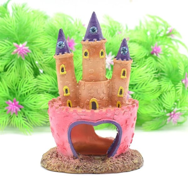 Pink Princess Castle Pesce Cave Acquario Ornamento Fish Tank Decoration