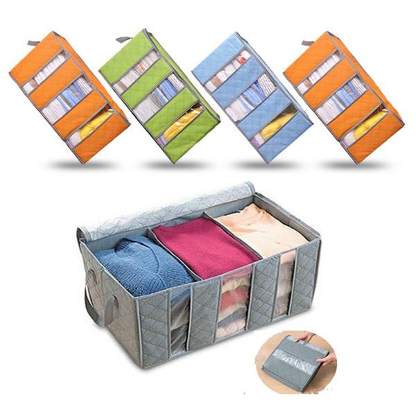 Vlies Kleidung Veranstalter Taschen Bambuskohle Kissen Quilt Falten Bettwäsche Container Box Fall Hause Schrank Aufbewahrungstasche Kinder AN2254