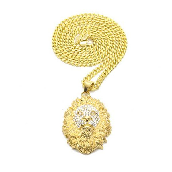 14K Gold Plated Iced Out Lion Pendant Stainess Steel Lion Head Pendant Necklace Micro Pave Cubic Zirconia Diamonds Rapper Singer accessories
