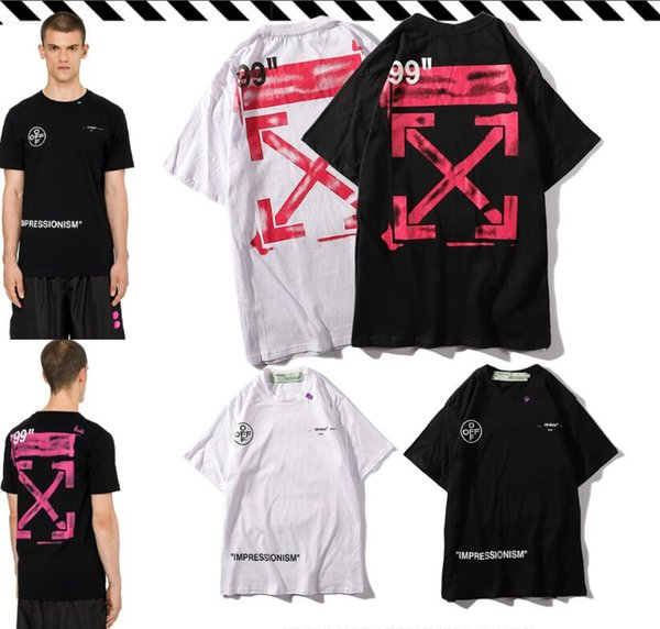Hombres diseñadores camisetas Salpicaduras de tinta VIRGIL Flechas rosadas Pintura camiseta mujeres camisetas blancas Cuello redondo hip hop camisetas