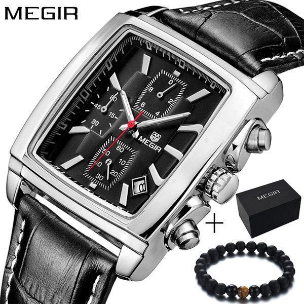 megir genuine leather rectangle satch quartz-watch sport car-styling mens watches waterproof wristwatch, Slivery;brown