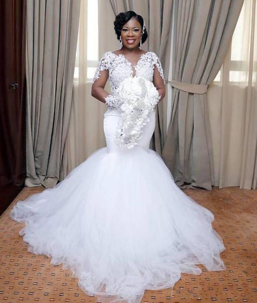 Acheter Robes De Mariee Sirene Col En V Manches Longues Robes En Dentelle Femmes Africaines Africaines Filles Noires De Mariage Robes De Mariee Robes