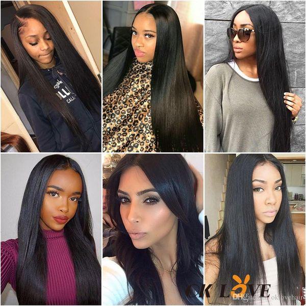 İnsan Saç Demetleri Ile Frontal Derin Dalga Vücut Dalga Düz 8-30 Inç Saç Uzatma 3 Demetleri Ile 13 * 4 Frontal Ücretsiz Bölüm Doğal Renk