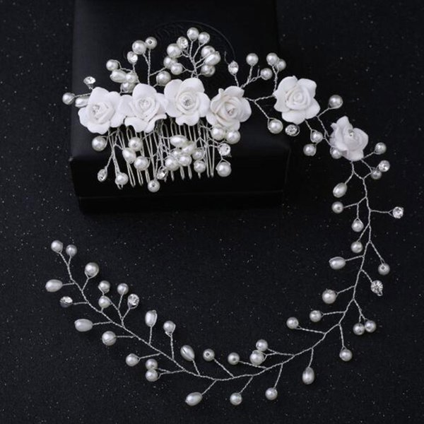 Women Bride Fashion Handmade Flower Hair Comb Crystal Pearl Hair Clips Wedding Party Hair Jewelry Accessories