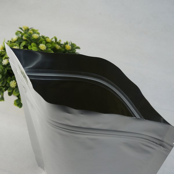 10x15+3cm 100pcs/lot Stand Up Silver White Pure Aluminium foil Ziplock bag, Metallic Mylar Plating Cocoanut Packing Pouch Zip Bags Reusable