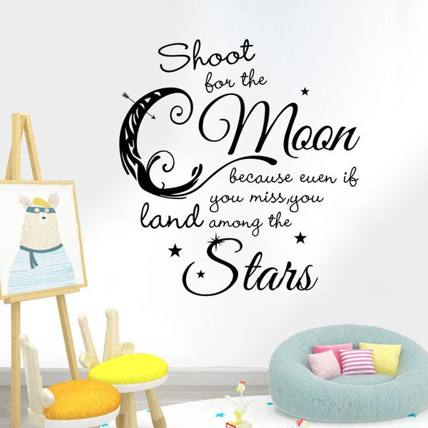 Стрелять на Луну, даже если вы пропустите Землю среди звезд питомник цитата наклейка на стену луна звезды декор питомник стены поговорки