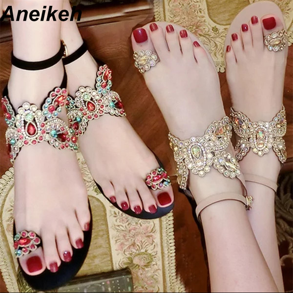 Aneikeh verano Bling Bling Rhinestone colorido mariposa mujer sandalias pisos de cristal Flip Flop zapatos de mujer solos partido playa Y190704