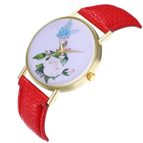 2019 New Fashion White Women Garden Flowers Watches Sport Analog Quartz Wrist Watches PU Leather drop shipping 4FN