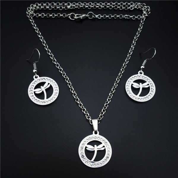 2019 Dragonfly Stainless Steel Jewelry Set Clay Inlaid White