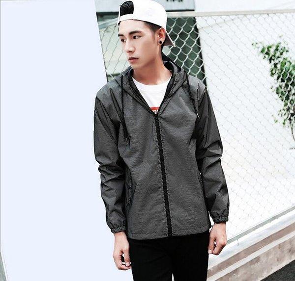 Gelgit Marka Ceket Erkekler Kadınlar 3m Yansıtıcı Ceket Casual Hiphop WINDBREAKER Gece Sporting Coat Kapşonlu Floresan Giyim Ünlü