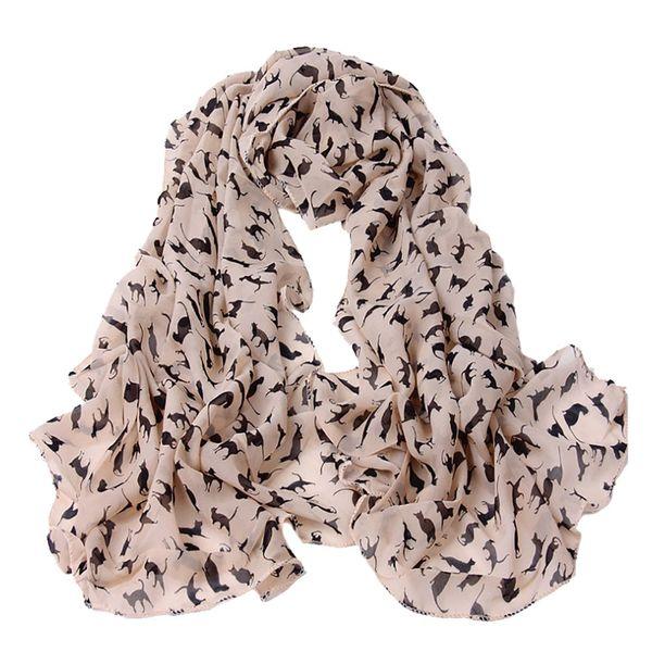 Fashion Cat Print Scarf Bandana shawl Women Chiffon Silk Scarf For Ladies Luxury Winter Autumn Long Soft Scarves Female