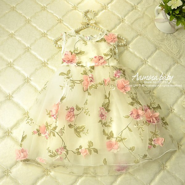 Flower Prints Petal Baby Summer Tutu Princess Kids Dresses For Girls,children Clothing Party Dress Girls Clothes J190513