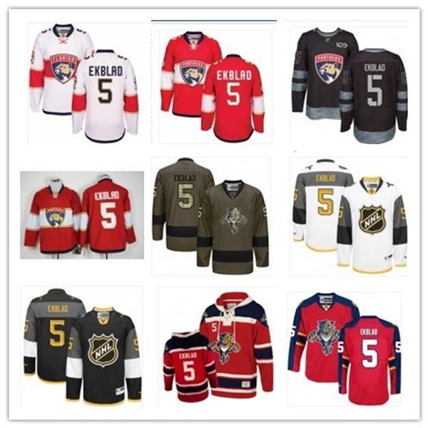 2019 Benutzerdefiniert Beliebiger Name Nummer Florida Hockey Jersey Grün 5 Aaron Ekblad Männer / FRAUEN / JUGEND Panther-Spiel Abgenutztes Hockey-Jersey-Shirt