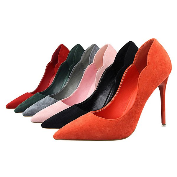 Simple Sweet Beauty Shoes High Heel Stiletto High Heel Shallow Mouth Suede Ol Pointed Hollow Shoes jooyoo