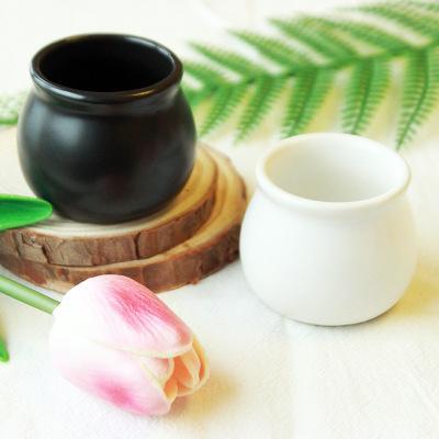 Ceramic Flower Pot Small Plant Pot Bonsai Planter Mini Round Black White Color Indoor Home Garden Decor EEA1068