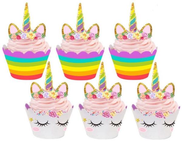 Cute Rainbow Unicorn Cupcake Wrapper Toppers Baby Shower Bambini Bambini Festa di Compleanno Forniture decorative GA621