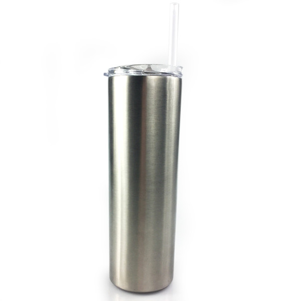 30 OZ Stainless Steel Skinny Tumbler Straight Cups Mugs With Straw and Lid For Beer Tea Coffe Double Wall Vacuum Insulated Bottles
