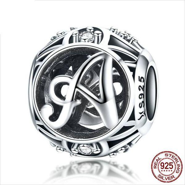 Новая подходят Пандора мода 26-буквенный серия реальные 925 серебряные бусины подходят Пандора руки DIY бусы браслеты ожерелье женские украшения