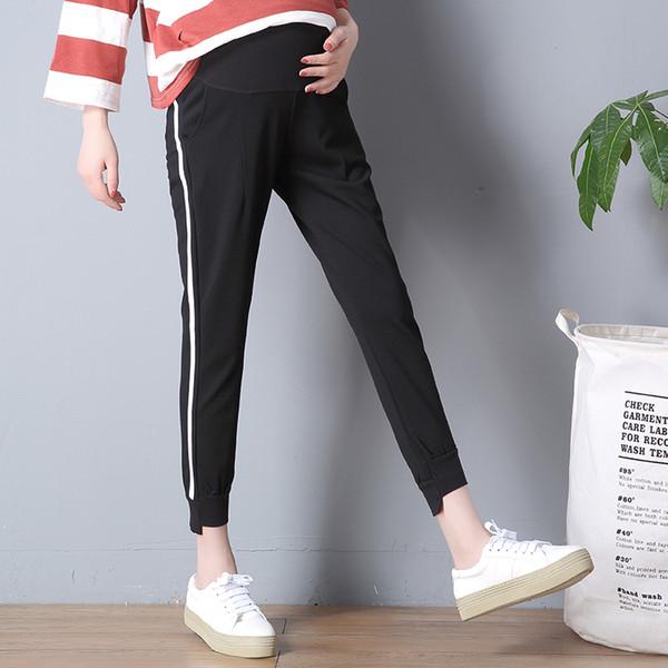 Maternidade curto nove calças verão seção fina calças casuais esportes leggings soltas mulheres grávidas calças roupas para a gravidez