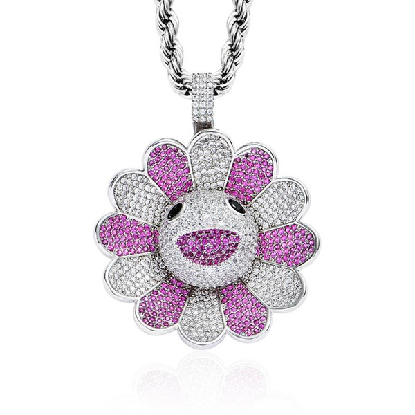 KAIKI Sun Flower Spinner Necklace& Pendant With Full Cubic Zirconia Stone And 24 Inch Stainless Steel Chain 3 Colors