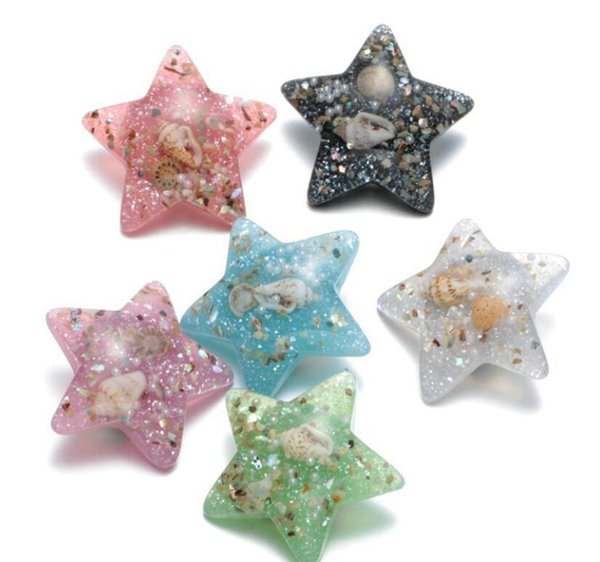 10Pcs Colorful Star DIY Starfish Shells Snap Button With Metal Snap Button Charm For DIY 18mm Snap Button Bracelet Necklace Jewelry