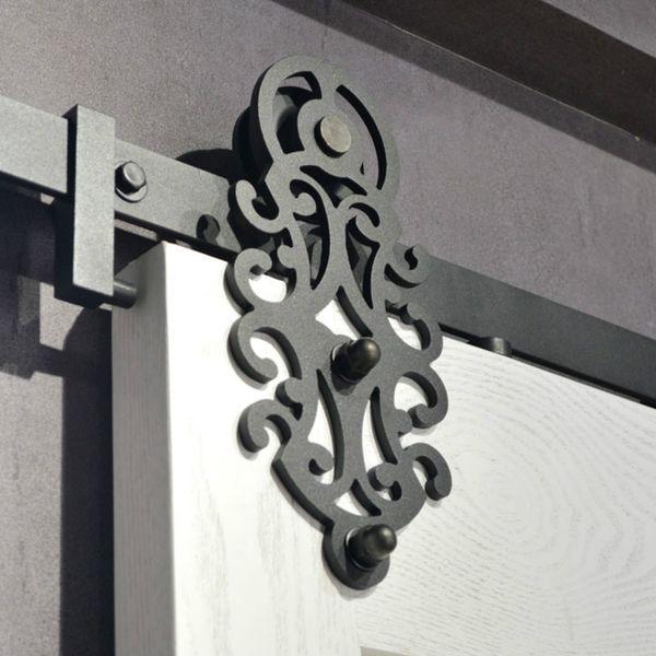 Herrajes para puertas de granero corredizas de acero real de patrón real SINGLE Puerta de armario DOBLE Juego de guías de rodadura para puertas interiores