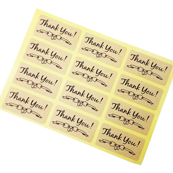 600 Pcs/lot Thank You With Bowknot Kraft Paper Stickers Self Adhesive Scrapbooking For Handmade Products Lovely Gift Stickers
