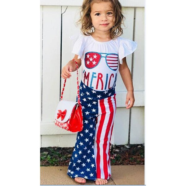 Ins Independence Day baby girl clothes Summer baby romper+Flared trousers designer baby suits girls outfits toddler girl clothes A6240