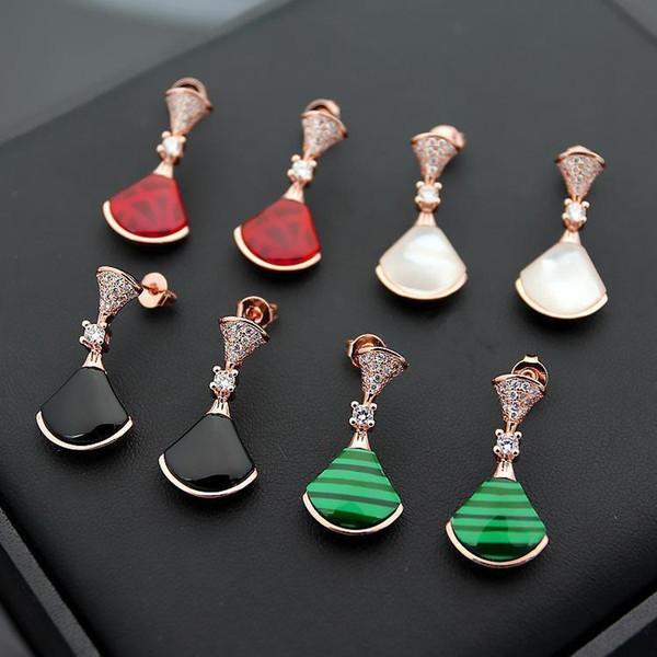 GGJewellry 316L titanium steel Classic B letter natural black red agate belt drill skirt couple earrings Fan shape ladies earrings gift
