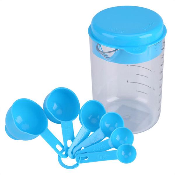 Синий Пластиковый Мерный Стаканчик Кухонные Измерительные Инструменты Ложки Наборы Для Домашней Кухни Выпечки Сахара Кофейные Ложки