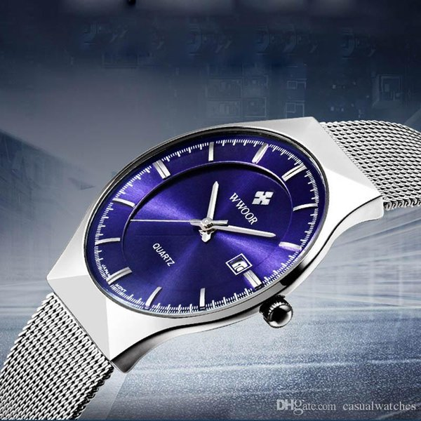 Mens Watch Mesh Belt Quartz Watch Brief Male Watch Calendar Waterproof Stainless Steel Clasp Free Shipping