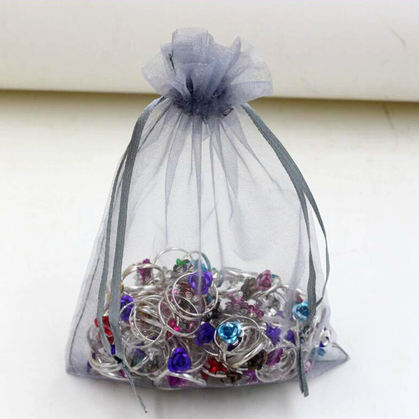 top popular Hot Sales ! Silver Gray With Drawstring Organza Gift Bags 7x9cm 9x11cm 13x18cm Wedding Party Christmas Favor Gift Bags 2020