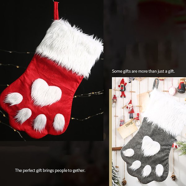 2019 Christmas Tree Hanging Xmas Ornaments Red Grey Pet Soft Christmas Socks Children S Pendant Gift Bag Hanging Home Decorative Sh190918 From Hai06
