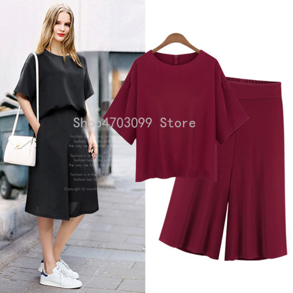 Casual Women L-5XL Plus Size Tute 2019 Summer The New Top + Pantaloni al ginocchio Pantaloni a gamba larga 2 pezzi Sets Extra Large