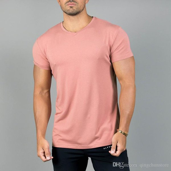 Free Shipping Fitness Clothing Sports Tight Short-Sleeved T-Shirt Men'S Soft V Neck T-Shirt Cotton Tops Letters Men's Tees Vest DX