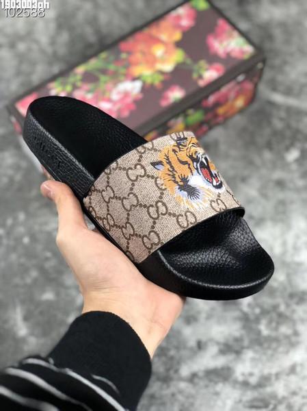 Tiger Luxury Designer Mens Womens Sommer Sandalen Strand Slide Casual Hausschuhe Damen Komfort Schuhe Druck Leder Blumen Biene 36-46 Mit Box