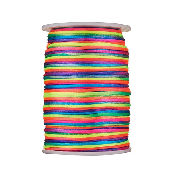 Approx 90yards/roll 2mm Colorful Polyester Cord Rattail Beading Cords String Threads Braided Rope Bracelet Necklace Finding